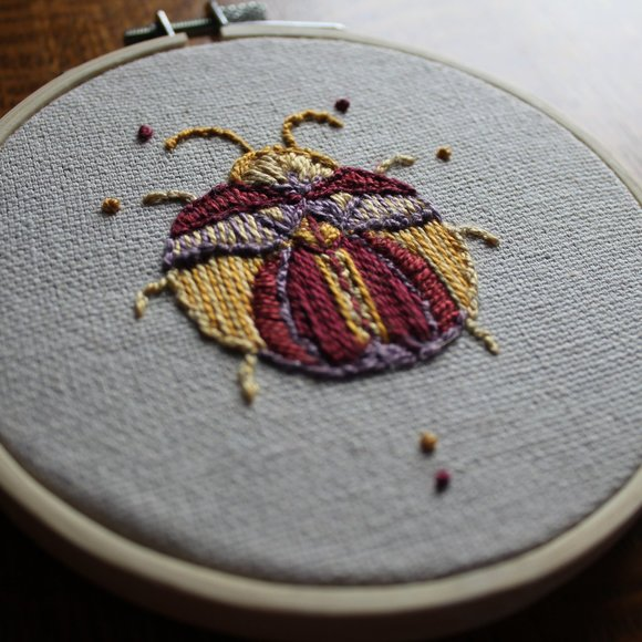 Beetle Hand Embroidered Textile Art
